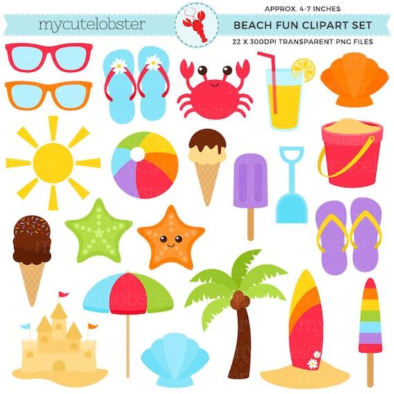 Beach Clipart Set sandcastle summer sunglasses palm tree