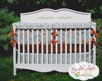 Woodland Bedding for Crib - Baby Boy Woodland Creature - Custom Crib Bumpers, Custom Crib Skirt, Custom Crib Sheet - Custom Nursery Bedding