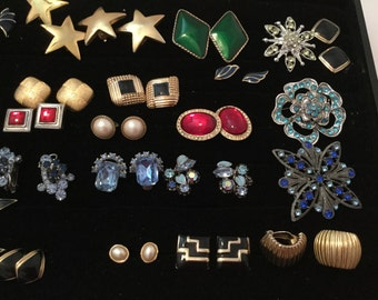 Vintage jewelry -  earrings, Brooches, Shoe Clips- shipping paid