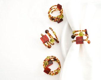 Thanksgiving Napkin Ring Set of Four - Beaded Napkin Rings - Fall Table Decor - Tuscan Decor