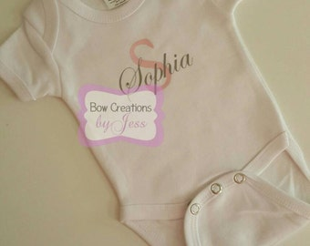 Personalized Baby Onesie with First Initial and Name | Pink and Gray | Newborn | New Baby | Infant Onesie | Baby Gift | Baby Name | Girls