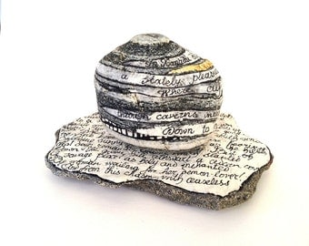 The Stones of Kubla Khan - desk ornament, home study decor, poetry paperweight