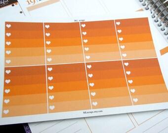Pumpkin Ombre Heart Checklists-Set of 8
