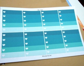 Teal Ombre Heart Checklists-Set of 8