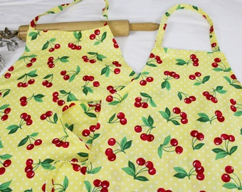 Matching Mother Daughter Yellow Cherry Aprons