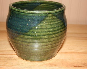 Tall green planter, planter pot, handmade pottery, container gardening