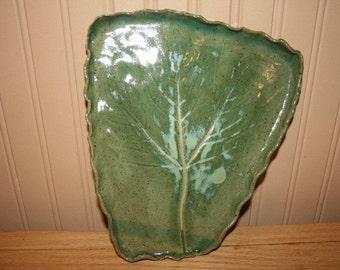 Pottery tray, leaf design serving dish, green platter