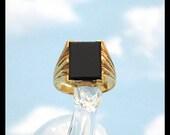 18K Gold Art Deco Men's Black Onyx Ring / Jazz Age Jewelry / 1920s / Geometric Rectangle / 18K Yellow Gold Man's Ring / Retro Estate Jewelry