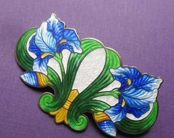 ON SALE Art Nouveau Sterling Silver And Enamel Cloisonne Iris Brooch Antique Pin