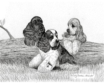 Kindergarten Days, Cocker Spaniel puppy limited edition giclee print