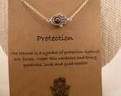 Hamsa Hand Necklace: Silver Hamsa Hand, Protection, Wish Necklace, Yoga, Yoga Jewelry, Agate Stone, Charm Necklace, Evil Eye