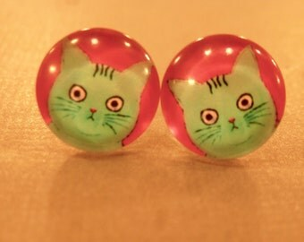 Cat Studs: Turquoise Cat Stud Earrings, Crazy Cat, Crazy Cat Lady, Cat Earrings, Cat Jewelry, Meow, Glass Cabochons