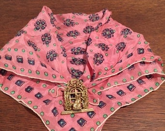Neckerchief with cat pin--Mad Men era; Scarf and brooch can be worn separately.