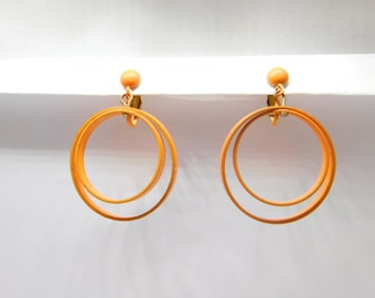 Vintage 1960s Orange Enamel Mod Circles Dangle Earrings - Clip Earrings - Clip ons