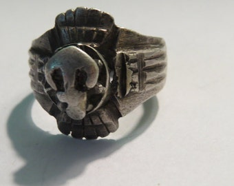 Vintage Silver Metal Handmade Middle Eastern Ring Finding or Part to Create
