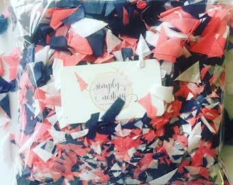 2 oz handcut confetti in Coral, Navy and White handcut confetti, table confetti, dessert table, nautical theme party