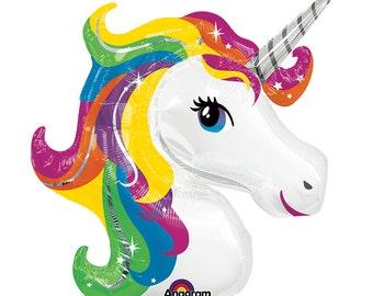Rainbow Unicorn Balloon, Giant Rainbow Unicorn Balloon, Rainbow Party, Unicorn Party, Foil Party Balloon, Huge Balloon, Jumbo Unicorn