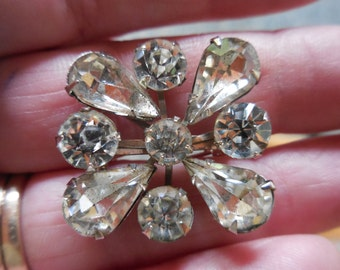Vintage Silver Tone Pronged Rhinestone Pin/Brooch Teardrop and Round Sparkly 1950s to 1960s