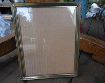 Vintage Gold Tone Metal 1950s to 1960s Picture Frame 8x10 Self Standing or Hang