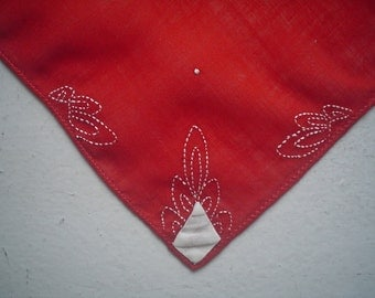 Red Hankie with White Embroidery Vintage Handkerchief