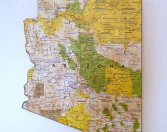 ARIZONA State Map Wall Decor | Perfect Gift for Any Occasion | Vintage National Geographic Map | Small size