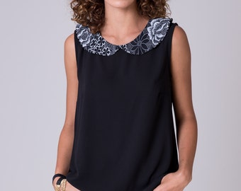 Black womens blouse Collared black Shirt Black Sleeveless top  Peter pen collar shirt Romantic blouse