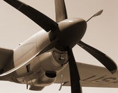 C-130 Aircraft Propeller Detail, INSTANT DOWNLOAD PHOTO of Modern J-Model Keithley, Air Force Airplane Photo, Sepia