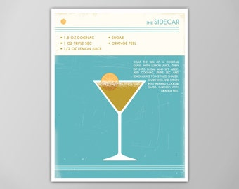 Sidecar Cocktail Art Print, Food and Drink Poster, Cocktail Poster, Cocktail Art Print, Sidecar Art Print, Sidecar Cocktail Poster, Sidecar
