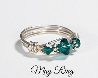 May Birthstone Ring: Handmade Sterling Silver May Birthstone Emerald Ring made with Swarovski Crystals. Birthday day and Christmas gift