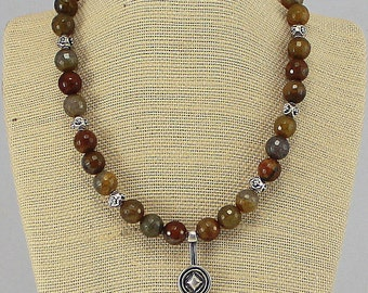 Agate Necklace with Pewter Drop Pendant.  Hypoallergenic Jewelry.  Ethnic Pendant.  Fall Colors.