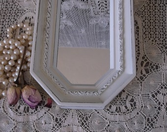Vintage mirror, shabby white, long small wall mirror, Romantic home decor