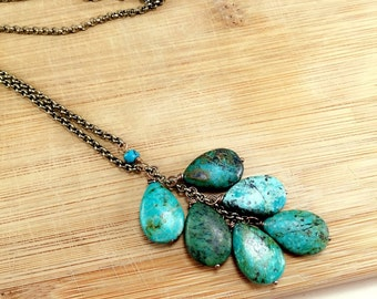 African Turquoise Cluster on Brass Chain