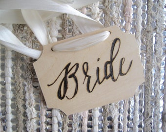 Wooden Bride and Groom Signs - Hand Engraved - Set of 2