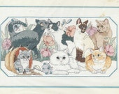 80s Purrfect Garden Counted Cross Stitch Kit by From the Heart Unopened Kit, Floss, Aida Cloth, Chart Designed by Eileen Hayes