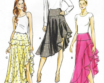 Womens High Low Ruffled Skirt in 2 Lengths OOP Vogue Sewing Pattern V8908 Size 14 16 18 20 22 Hip 38 40 42 44 46 UnCut Dance Skirts