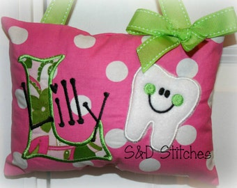 Girls Tooth Fairy Pillow - Personalized - Polka Dot