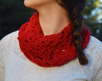 30% OFF Red chochet scarf. Crochet Wool Scarf. Neck Warmer. Stylish crochet Scarf. Red crochet Neck Warmer