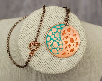 Ying Yang Necklace Orange Turquoise Etched Copper Necklace Copper Jewelry.