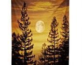 Wall Tapestry. Halloween Wall Decor. Sunset. Moon. Trees. Orange. Yellow. Clouds. Tapestry. Nature. Forest. Woods