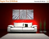 HOLIDAY ARTWORK SALE Abstract Metal art Wall sculpture Decor colour light reflect bright brilliant Contemporary 3D effect unique silver Orig