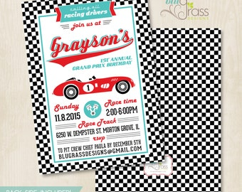 Custom Birthday Party Invitation by Mulberry Paperie - Race Car