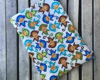 "Travel wet bag 10""x13""- Monkeys-optional strap available-"