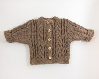 Chunky Cable Knit Baby Jacket, Hand Knitted Baby Sweater, Knitted Baby Cardigan - Brown, 9 - 18 month