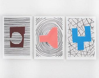 Kit of 3 screenprints handmade A5  / Brown/purple - pink - blue