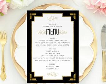 Menu printable, Printable wedding menu, Gatsby wedding decor, wedding printables, gold foil wedding decor, 1920s wedding, art deco wedding