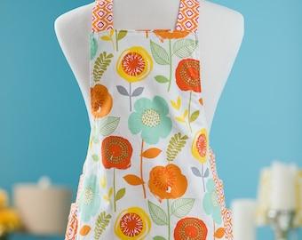 Child's Apron - Tangerine Blooms