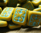 Picasso Decorative Czech Rectange Bead - Turquoise and Mustard - 12x11mm Rectangle Bead - Qty. 6 (bk0501)