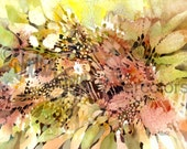 "Abstract Flowers Art Print, Floral, Bubbles, Peach, Pink, Olive and Yellow Green, Watercolor Painting Wall Art, Home Decor, ""Ebullience"""