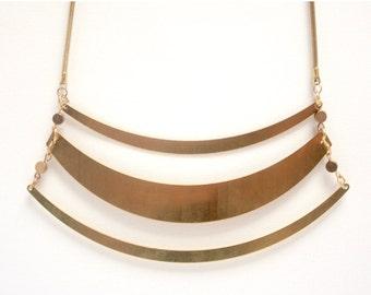 Statement brass necklace