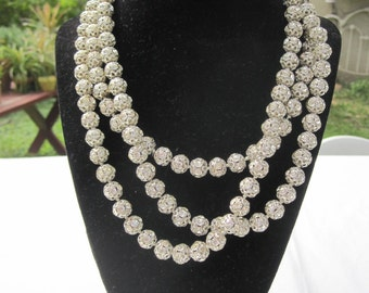 Vintage German 56'' Long Crystal Rondelle Bead Necklace